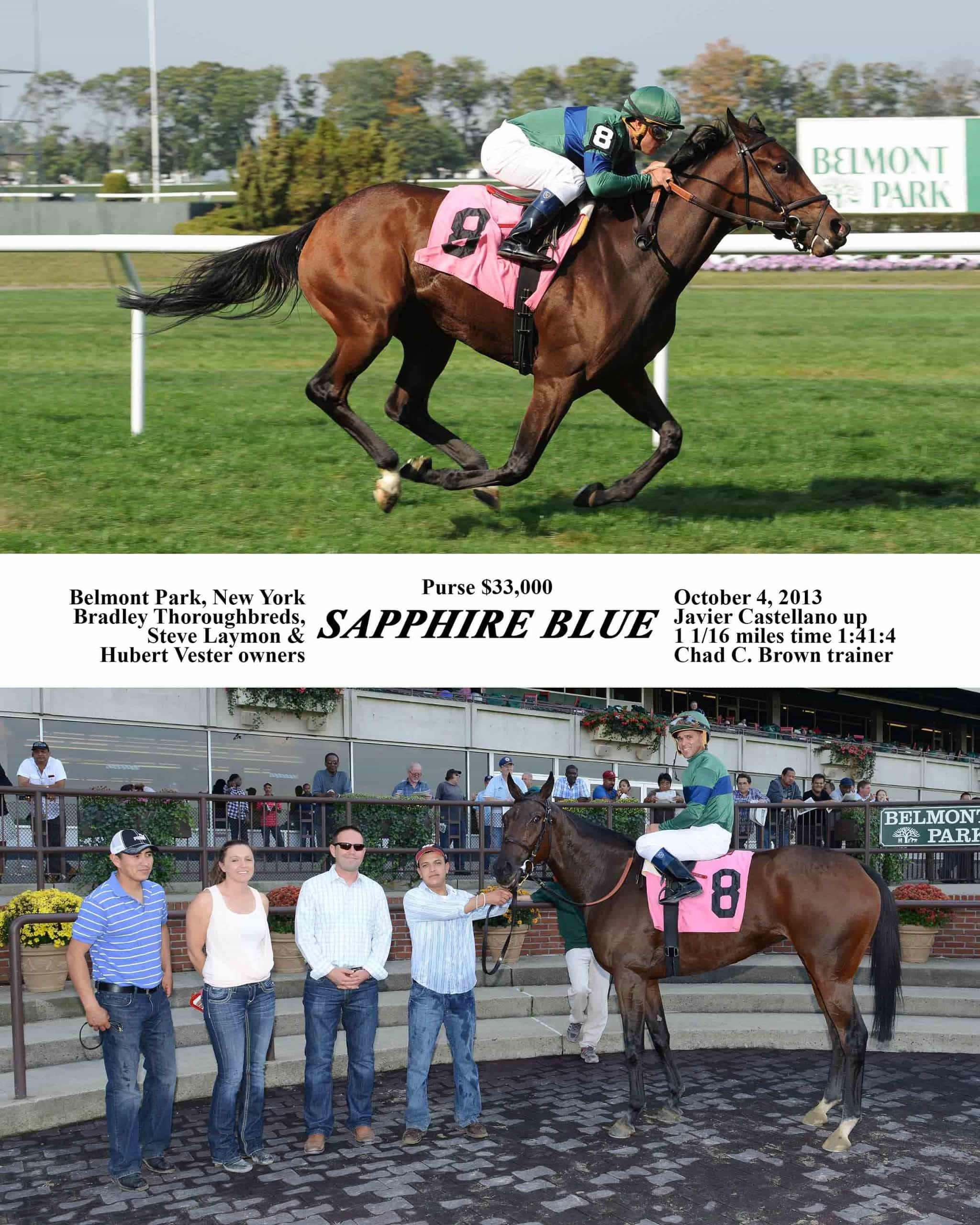 Sapphire Blue's win photo from October 4th at Belmont.